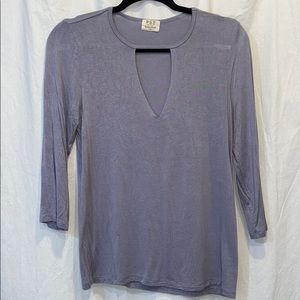 Purple-Gray Cutout Top